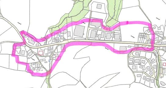 Das Gebiet für ein reduziertes Fernwärmenetz Hinterhof/Böhler