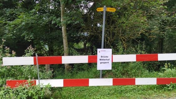Brücke Mittlerhof gesperrt